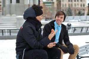 men engrossed in conversation
